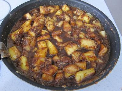 Recette Brouillade de fruits au pralin et chocolat
