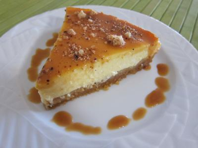 fromage blanc : Tranche de cheese cake au caramel