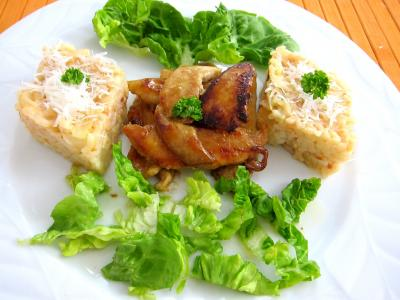 chou-fleur : Assiette de risotto au chaou-fleur avec du blanc de poulet