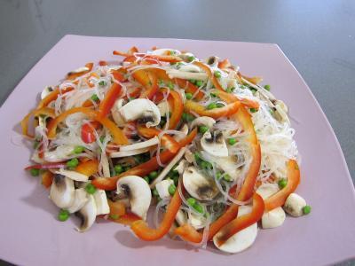 Recette Vermicelle de riz et crevettes en salade