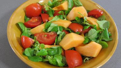 Recette Mâche en salade et ses brochettes de jambon