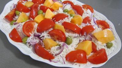 Recette Encornets et gambas en salade