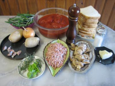 Ingrédients pour la recette : Crème de tomates et haricots verts