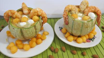 Gaspacho de melon au lait d'amandes et gambas - 9.3