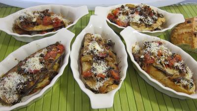 Recette Crostinis d'aubergines et son concassé de boeuf façon Italienne