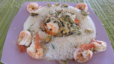 Recette Plat de riz pilaf aux gambas à l'orientale revisité